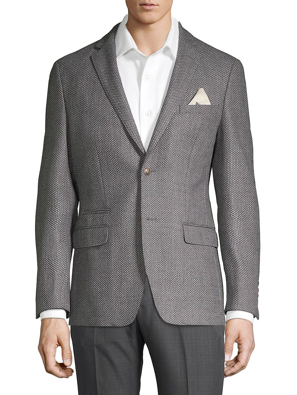 Wool Flannel Dot Blazer