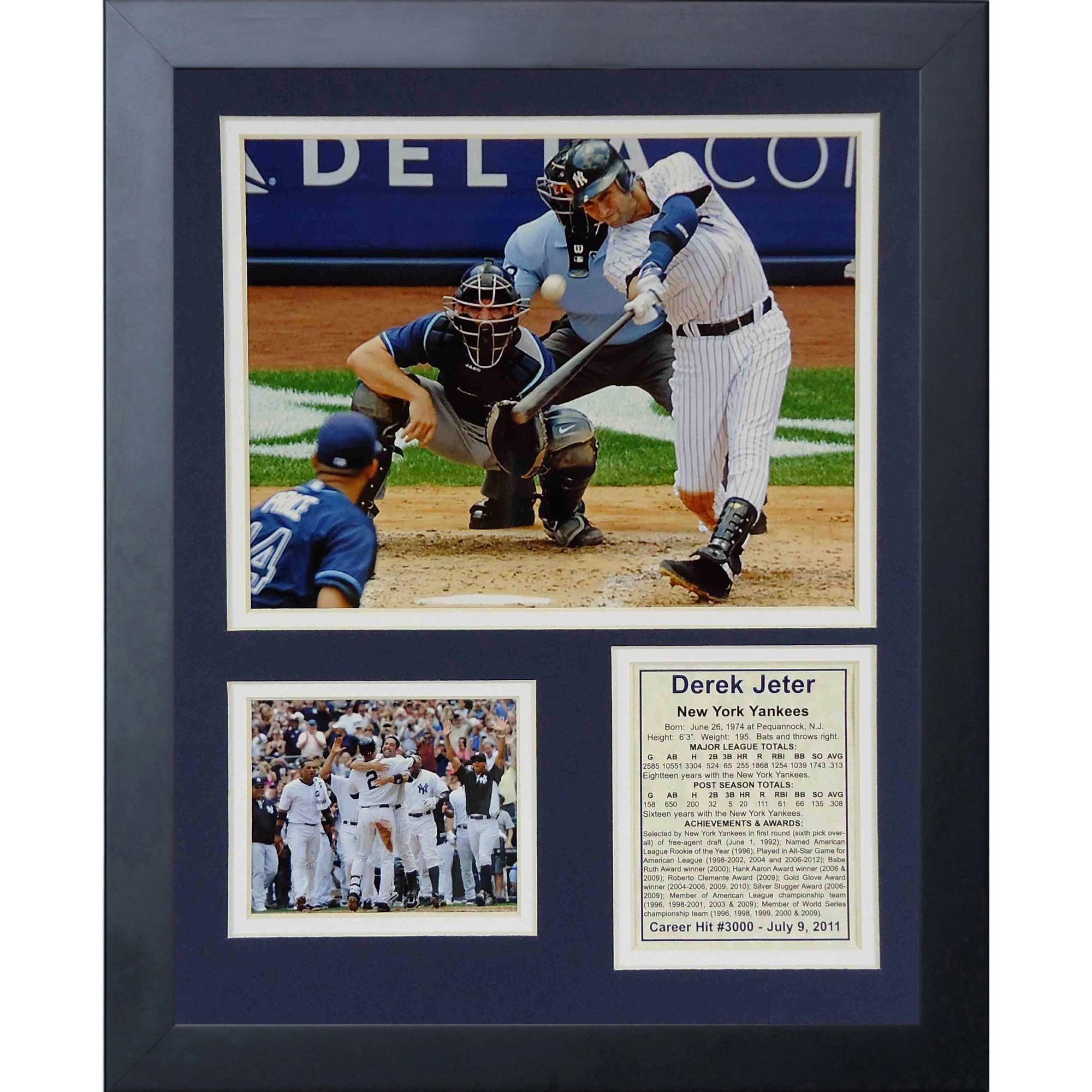 """Derek Jeter 3000th Hit"" 11x14 Framed Photo Collage, by Legends Never Die, Black"