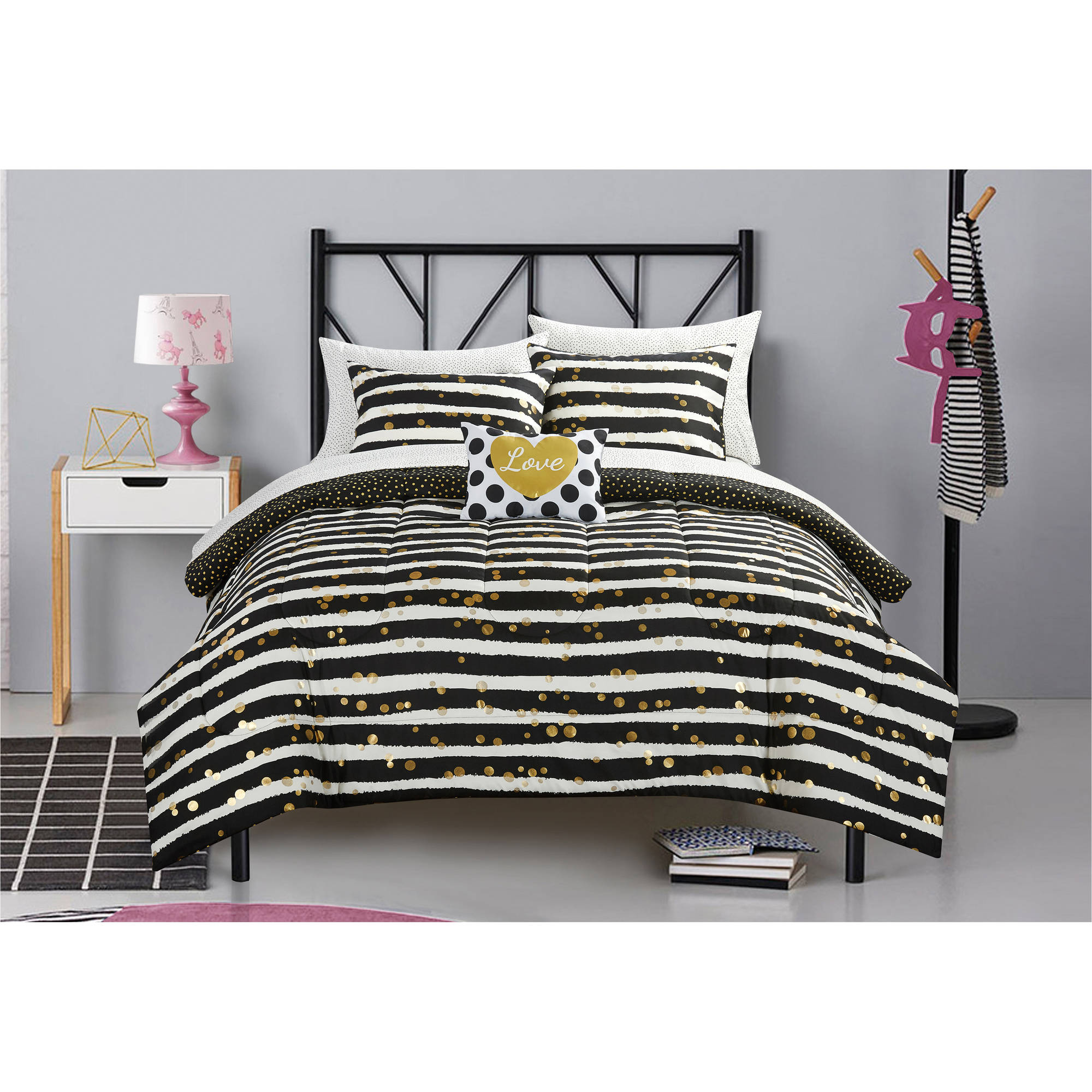 Latitude Gold Glitter Stripe And Polka Dot Bed In A Bag