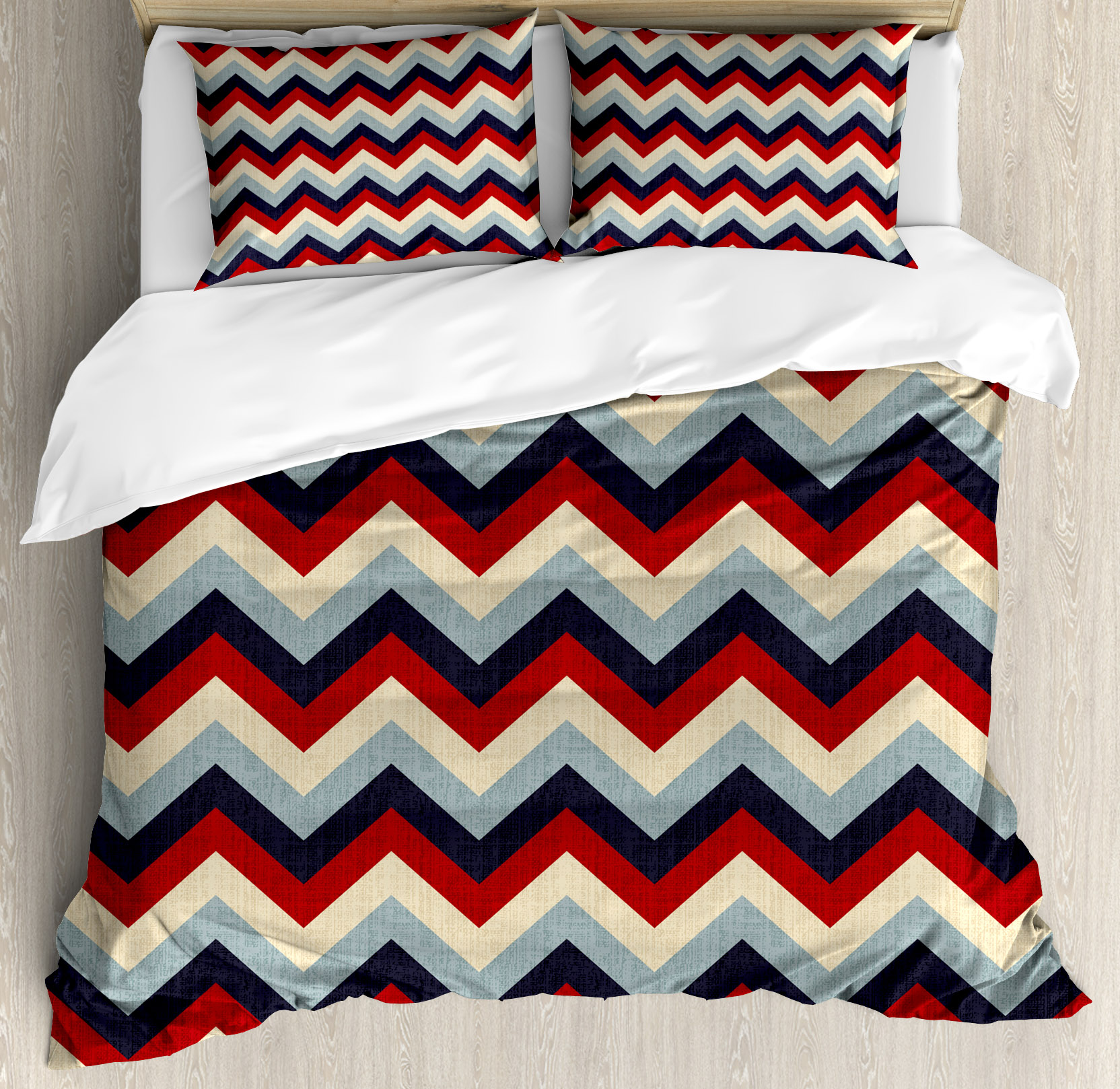 Chevron King Size Duvet Cover Set, Triangle Abstract Geom...