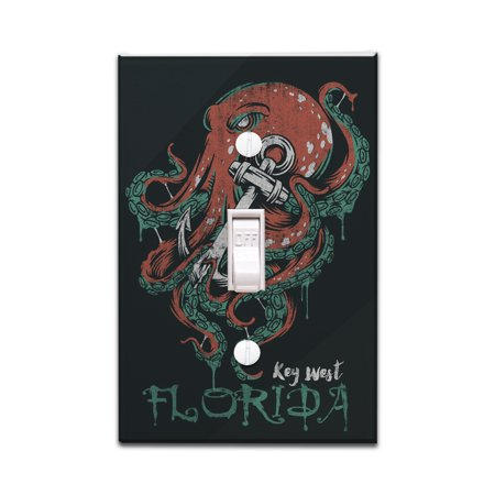 Key West, Florida - Octopus Anchor - Grunge Style - Lantern Press Artwork (Light Switchplate Cover) - Key West 3 Light
