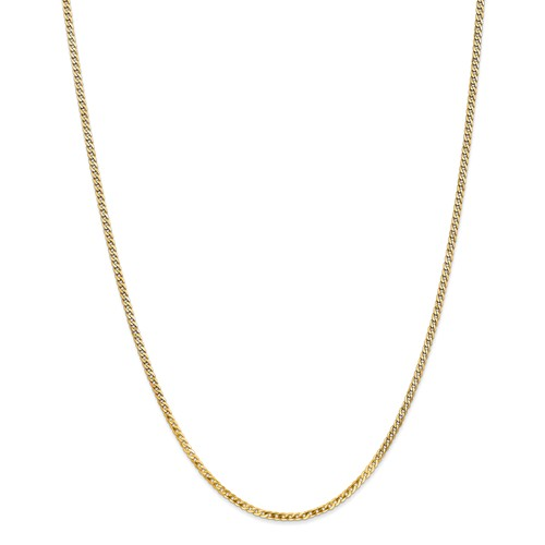 14k Yellow 20in Gold 2.2mm Flat Beveled Curb Necklace Chain