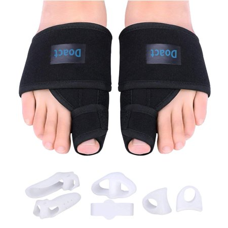 EECOO Bunion Corrector Day and Night Kit, Orthopedic Hallux Valgus Splint with 6 Pieces Gel Toe Separators for Bunion Pain Relief for Women and