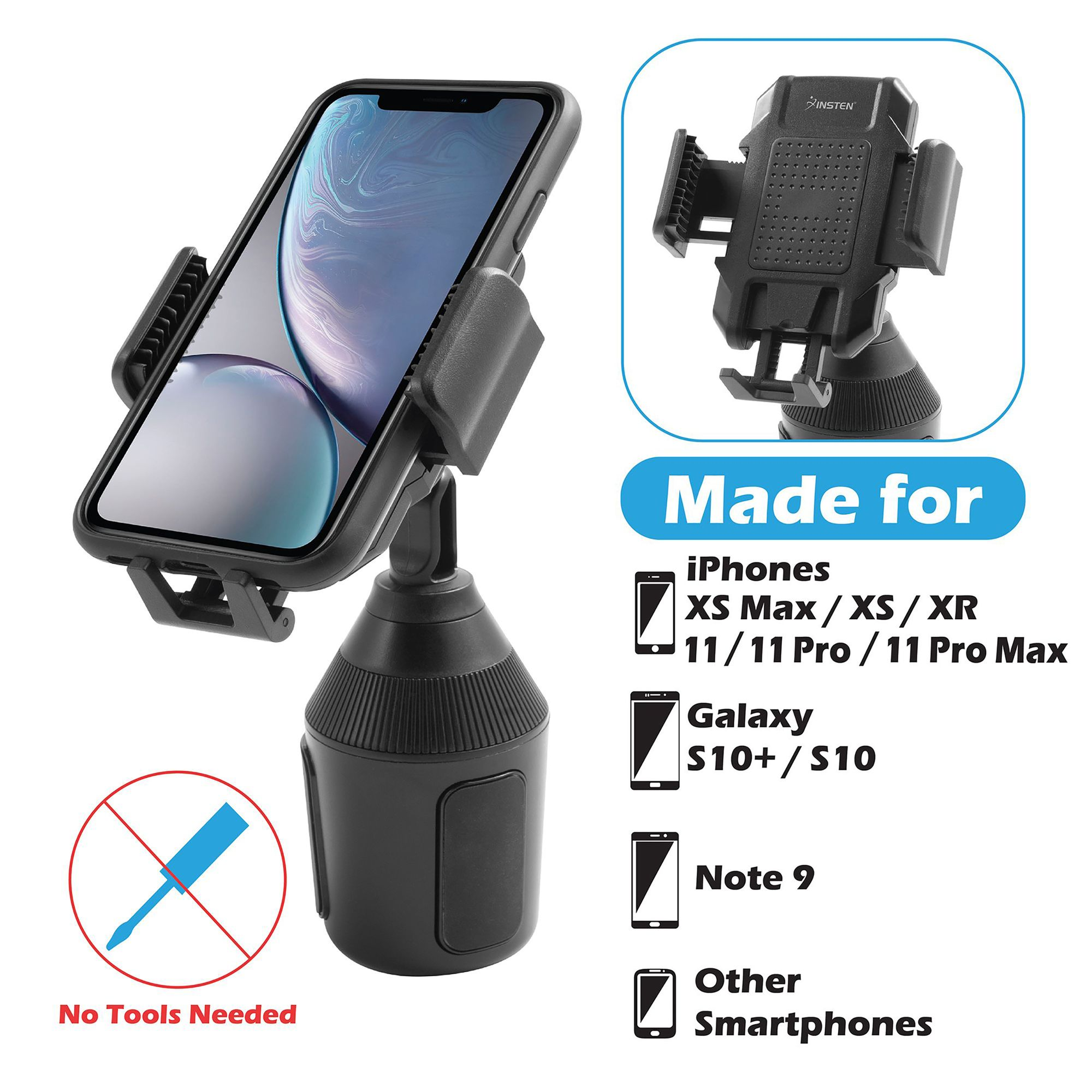 Samsung S10//S10 Plus//S9//S8 Edge//Note9 Huawei etc. Car Cup Holder Phone Mount CTYBB Cup Holder Cradle Car Mount with Adjustable Neck for Cell Phones iPhone 11 Pro//iPhone 11//11//XR//XS//8//7 Plus//6s