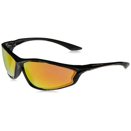3469 KP6 Black Frame Safety Sunglasses with Red Mirror Lenses, Red Mirror Lens By Crossfire