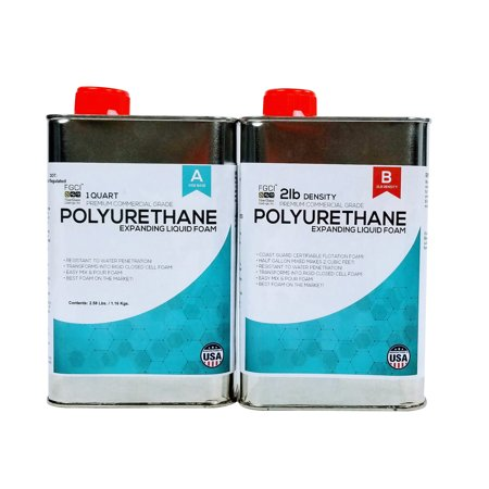 EXPANDING POLYURETHANE FOAM KIT 2 LB DENSITY, 1/2 Gallon Kit, COAST GUARD FLOTATION CERTIFIABLE, Marine Grade. INCLUDES 1 QUART PART A & 1 QUART PART B, Fiberglass Coatings, Inc.