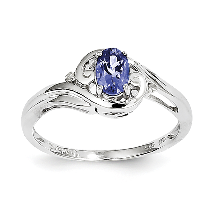 Sterling Silver Rhodium Plated Diamond & Tanzanite Ring by