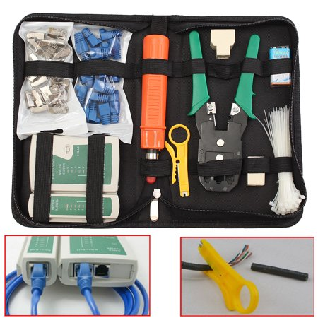 RJ45 RJ11 Cat5 Cat5e Connector LAN Cable Crimper Pliers Tool Kits +Network Cable Tester Tools +Storage (Network Crimper)