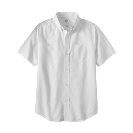 Boys School Uniform Short Sleeve Oxford Shirt - White Dress Shirt Boys