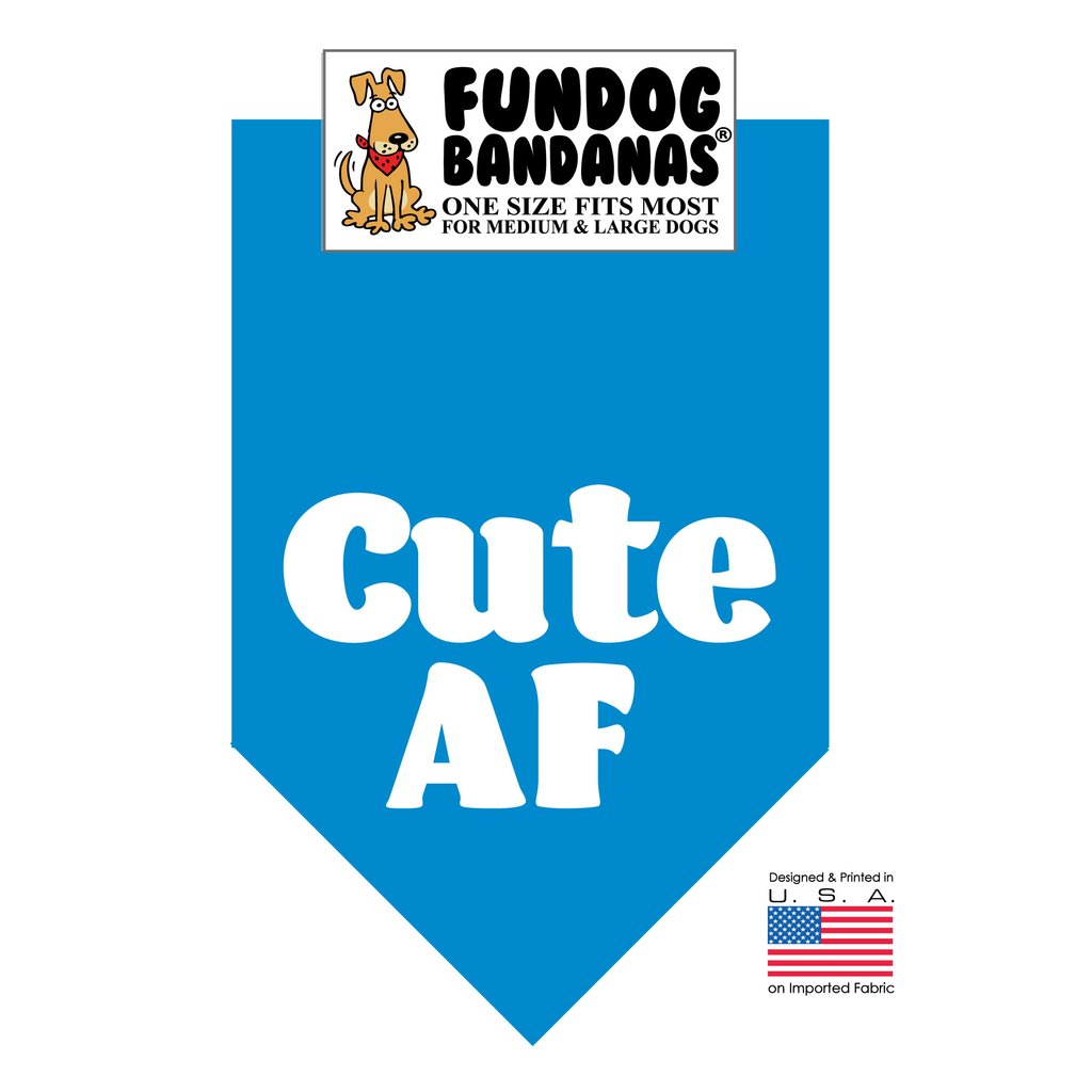 Fun Dog Bandana -Cute AF - One Size Fits Most for Medium to Large Dogs, turquoise pet scarf