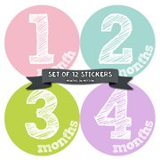 Monthly Baby Stickers by Months In Motion | 12 Month Milestone Sticker for Newborn Babies (Style 818)