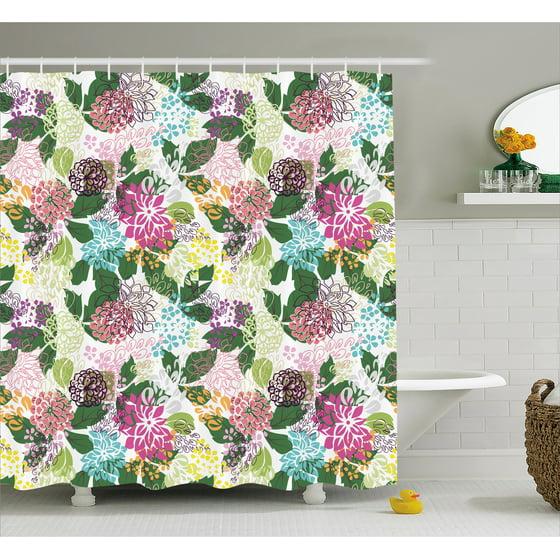 Floral Shower Curtain, Vibrant Flower Bouquet Botanical Beauty ...