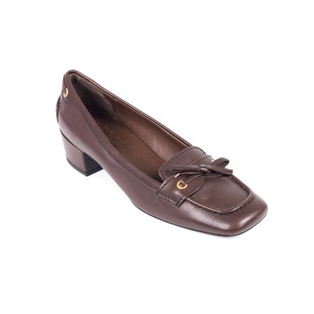 Car Shoe By Prada Brown Leather Bow Tie Square Toe Pumps