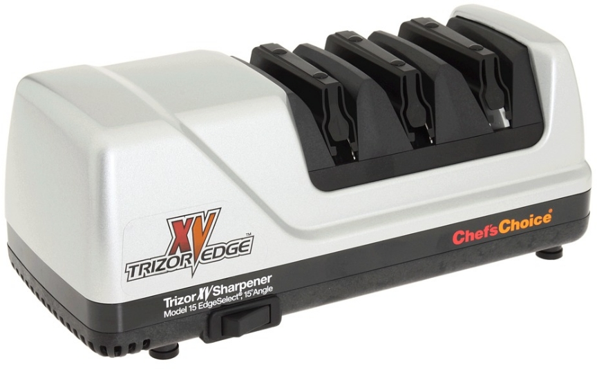 Click here to buy Chef's Choice Brushed Metal EdgeSelect Model 15 Trizor XV Knife Sharpener by Chefs Choice.