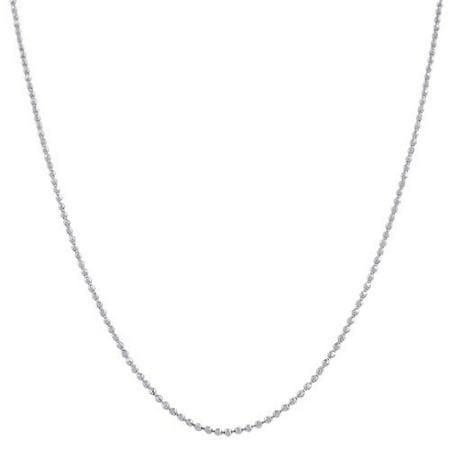 Pori  Italian Sterling Silver Bead Diamond-cut Chain Necklace - White - White Bead Necklaces