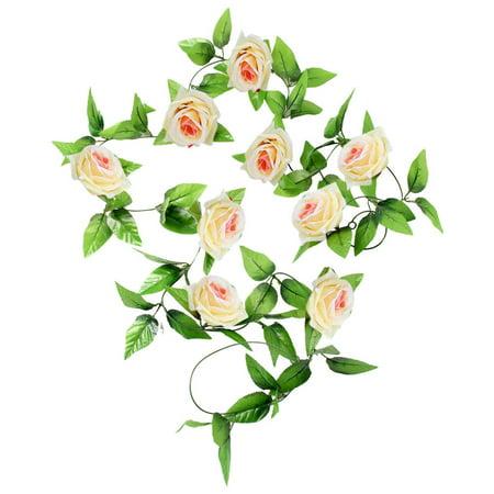 1x 8 Ft Artificial Silk Rose Flower Ivy Vine Leaf Garland Wedding Party Garlands