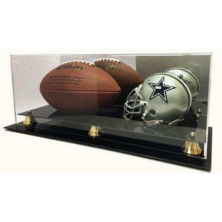 Deluxe Mini NFL Helmet and Full Size Football Acrylic Display Case with Mirror ()