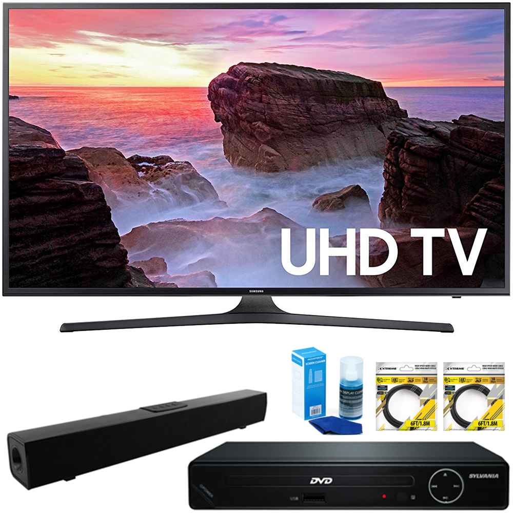 "Samsung 65"" 4K HDR Ultra HD Smart LED TV 2017 Model (UN65MU6300FXZA) with HDMI HD DVD Player, Solo X3 B.tooth Home Theater Sound Bar, 2x 6ft High Speed HDMI Cable & Screen Cleaner for LED TVs"