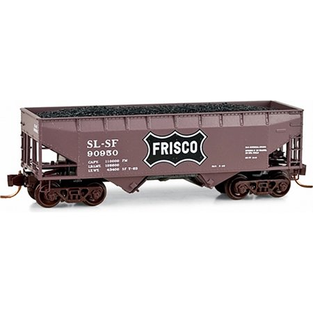 Micro-Trains MTL N-Scale 33ft Twin Coal Hopper Frisco/SLSF Brown/White #90950 ()
