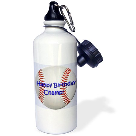 3dRose Baseball Birthday Champ, Sports Water Bottle, 21oz