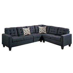 Terrific 2 Piece Modern Reversible Grey Tufted Microfiber Sectional Sofa With Ottoman Machost Co Dining Chair Design Ideas Machostcouk