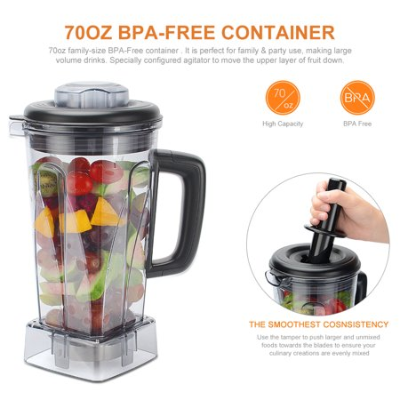 LIVINGBasics Blender for Shakes and Smoothies, Powerful 1500W, Perfect for Hot Soups, Nuts, Coffee Bean, Juice, Baby Food, 72 Ounces BPA-Free, Variable Speed Control - image 6 of 8