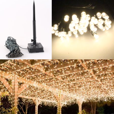 GZYF Warm White 200-LED Solar Powered Light Xmas Christmas Wedding Party String Fairy Lights Home Patio Garden Tree 22M