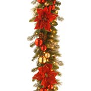 """National Tree 9' by 12"""" Decorative Collection Home For the Holidays Garland with 100 Clear Lights"""