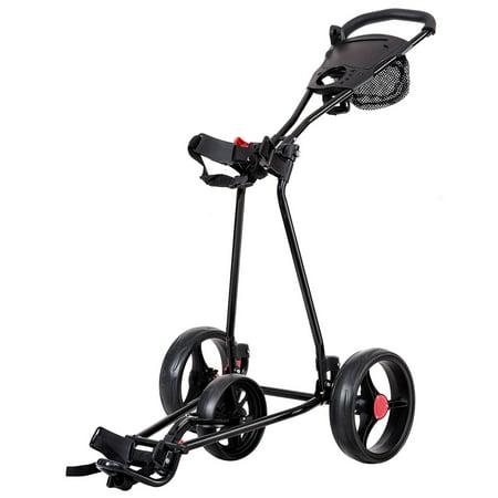 Golf Cigar Holder - Costway Foldable 3 Wheel Golf Pull Push Cart Trolley Scorecard Drink Holder Mesh Bag