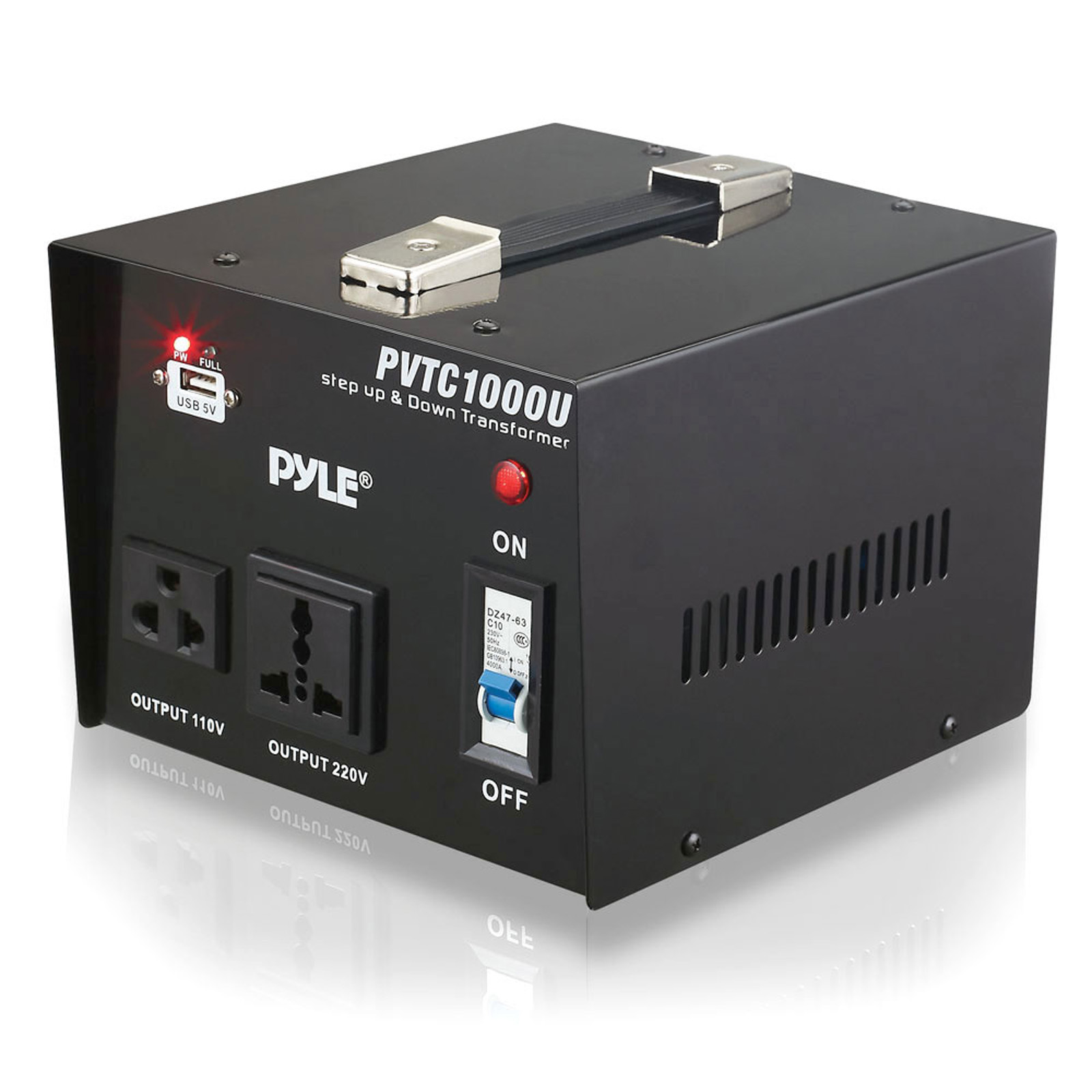 Pyle Step Up and Step Down 1000 Watt Voltage Converter Transformer with USB ing Port - AC 110/220 V