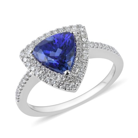 ILIANA 18K White Gold Trillion Mix AAA Premium Blue Tanzanite White Diamond Halo Ring Jewelry for Women Ct 2.1 G-H Color Si1 Clarity