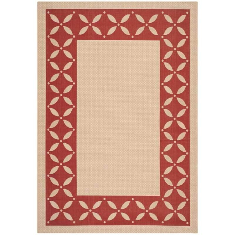 "Safavieh Martha Stewart 5'3"" X 7'7"" Power Loomed Rug in Creme and Red"