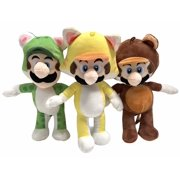 Super Mario Tanooki Mario Cat Mario and Cat Luigi 7 Inch Stuffed Plush Toy Figures
