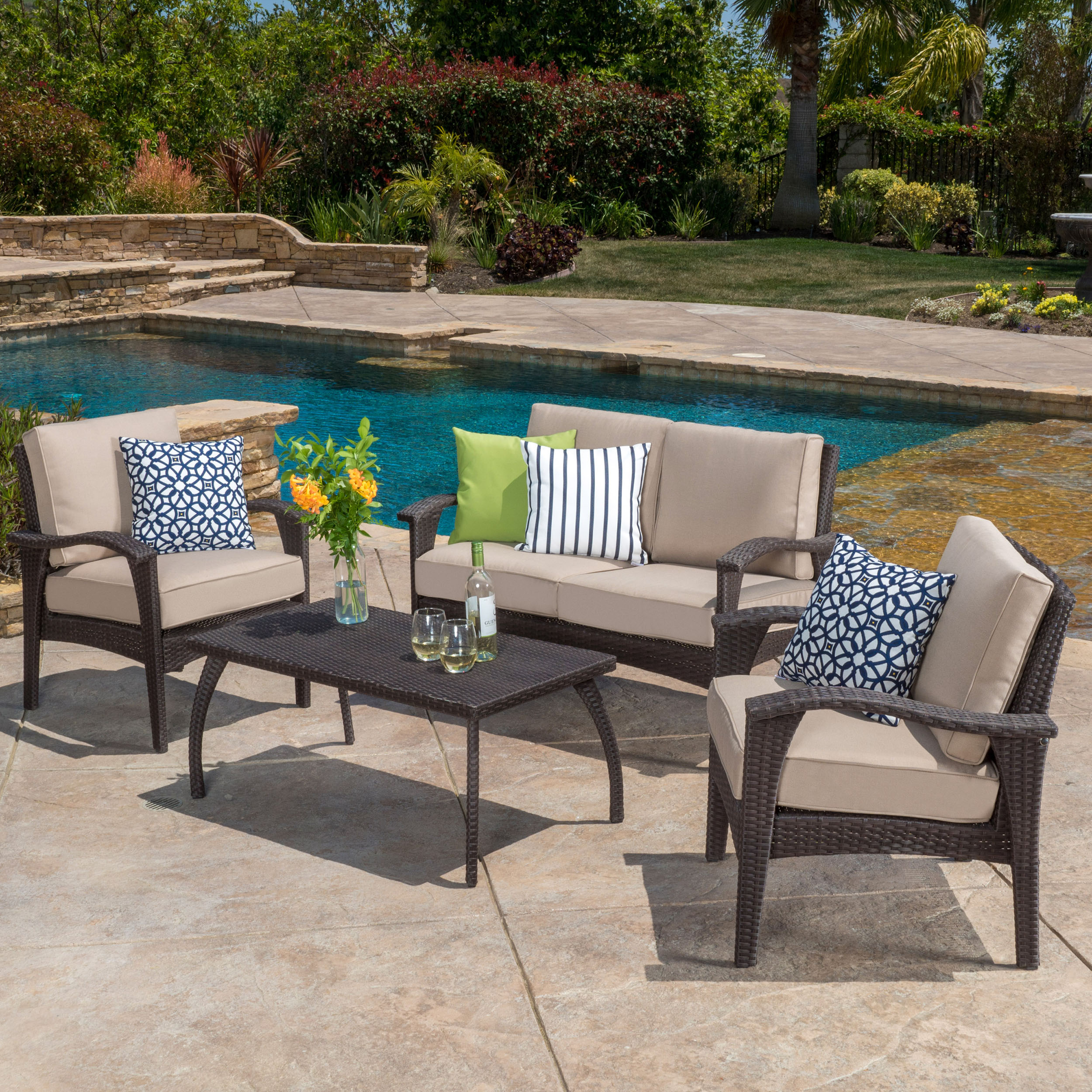 Becka Outdoor 4-piece Brown Wicker Seating Set and Cushions by GDF Studio