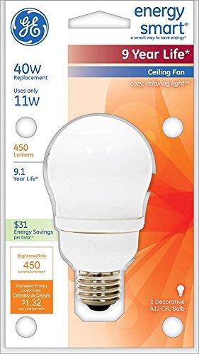 500-Lumen A17 Light Bulb with Medium Base 40-watt replacement 1-Pack GE Lighting 47486 Energy Smart CFL 11-Watt
