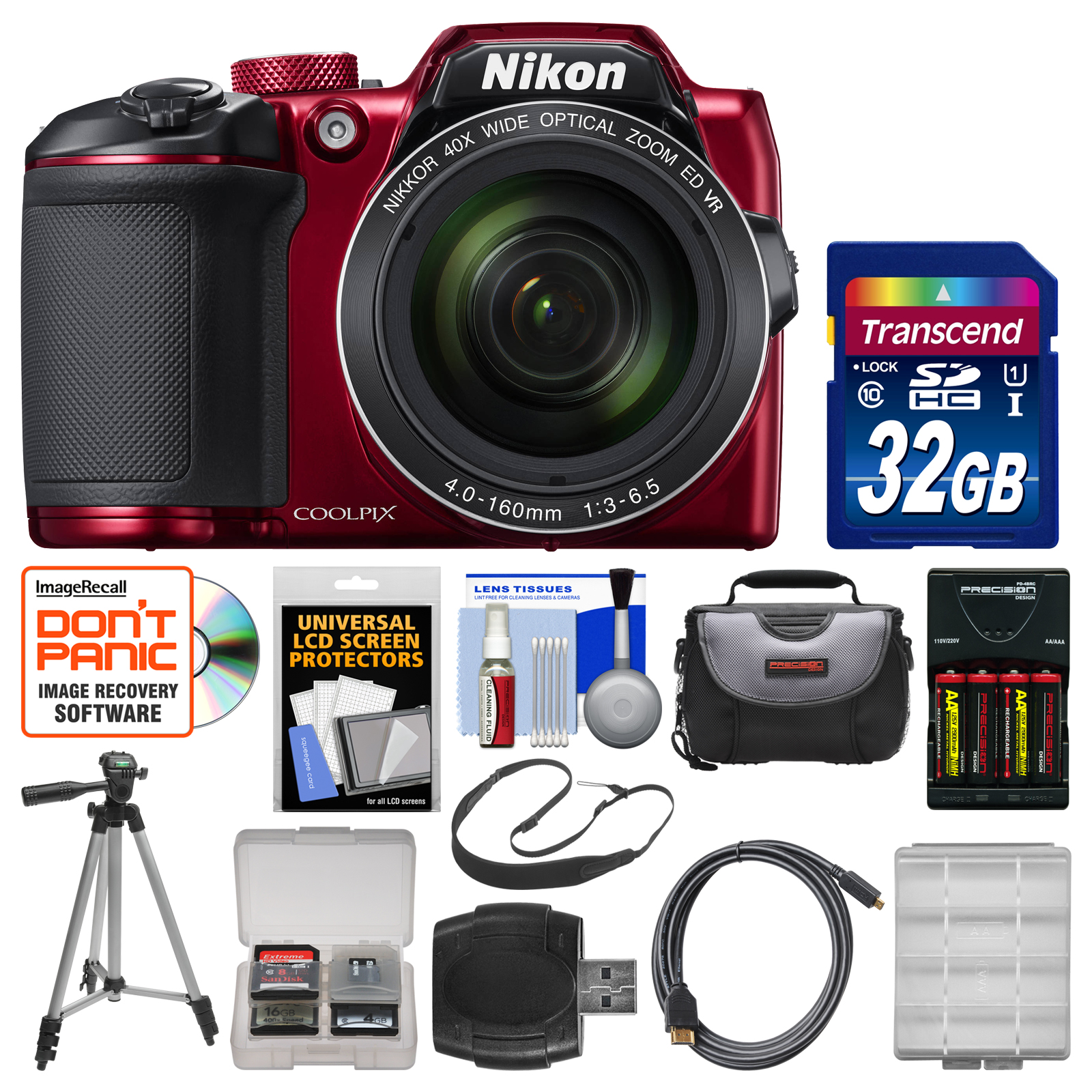Nikon Coolpix B500 Wi-Fi Digital Camera (Red) with 32GB Card + Case + Batteries & Charger + Tripod + Sling Strap + Kit