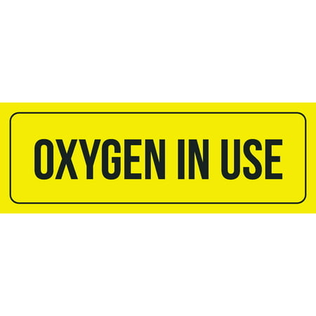 Yellow Background With Black Font Oxygen In Use Office Business Retail Outdoor & Indoor Plastic Wall Sign, 3x9 Inch