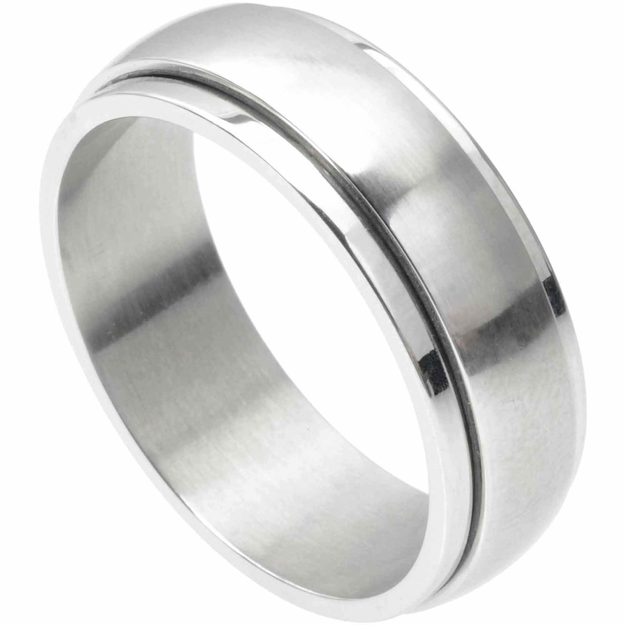 Daxx Mens Stainless Steel Spinner Band,