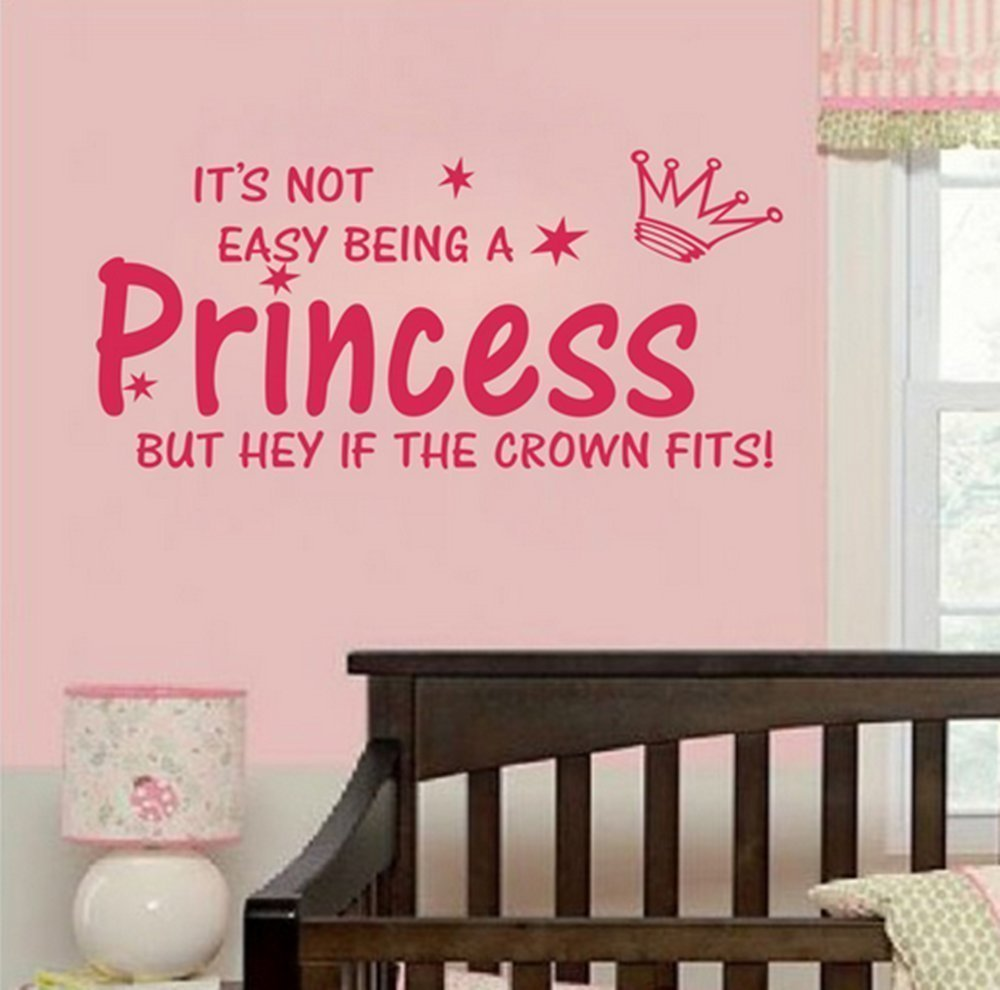 NOT EASY BEING A PRINCESS girl wall quote sticker graphic vinyl home kid decor