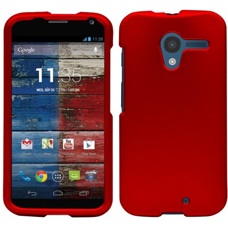 RED RUBBERIZED HARD SKIN CASE PROTECTOR COVER FOR MOTOROLA MOTO X 1st Gen (Moto X 1st Gen Case Flip)