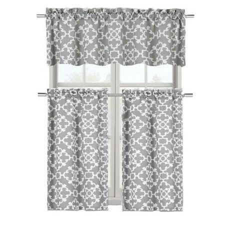 Charlton Home Emsley 3 Piece Kitchen Curtain Set