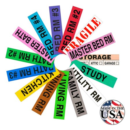 Tag-A-Room Color Coded Home Moving Labels, 800 (Cont Labels)