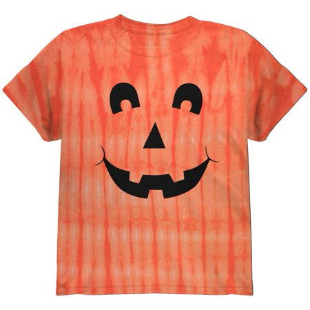 Halloween Jack-O-Lantern Excited Face Tie Dye Youth T-Shirt (Halloween Tie Dye Cupcakes)