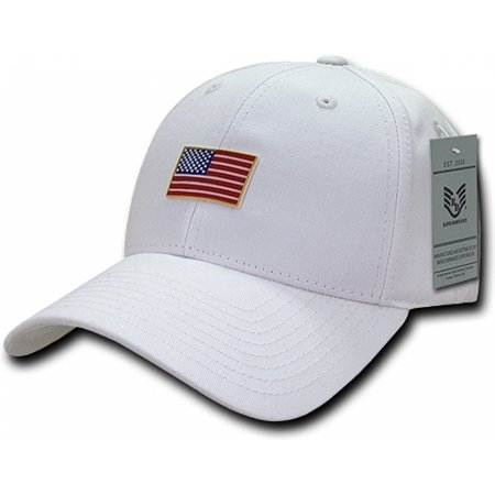 RapDom USA Structured Small Rubber Flag Mens Cap [White - Adjustable] (White Structured Cap)