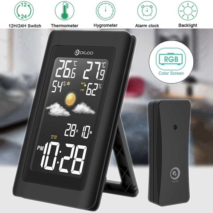 Digoo Wireless Weather Forecast Station Home with VA Glass Metaril Negative BackLight Screen ,Snooze weather forecast Alarm Clock,Hygrometer Thermometer Temperature Humidity Monitor