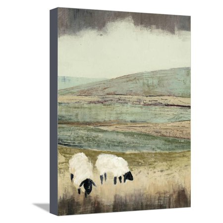 Open Meadow II Country Animal Farmhouse Sheep Landscape Art Stretched Canvas Print Wall Art By Grace