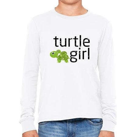 Turtle Girl - Baby Turtle Riding on Momma Turtle Girl's Long Sleeve T-Shirt - Girl Turtle