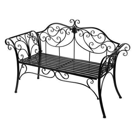 Black Outdoor Romance Two Seat Bench for Garden Park