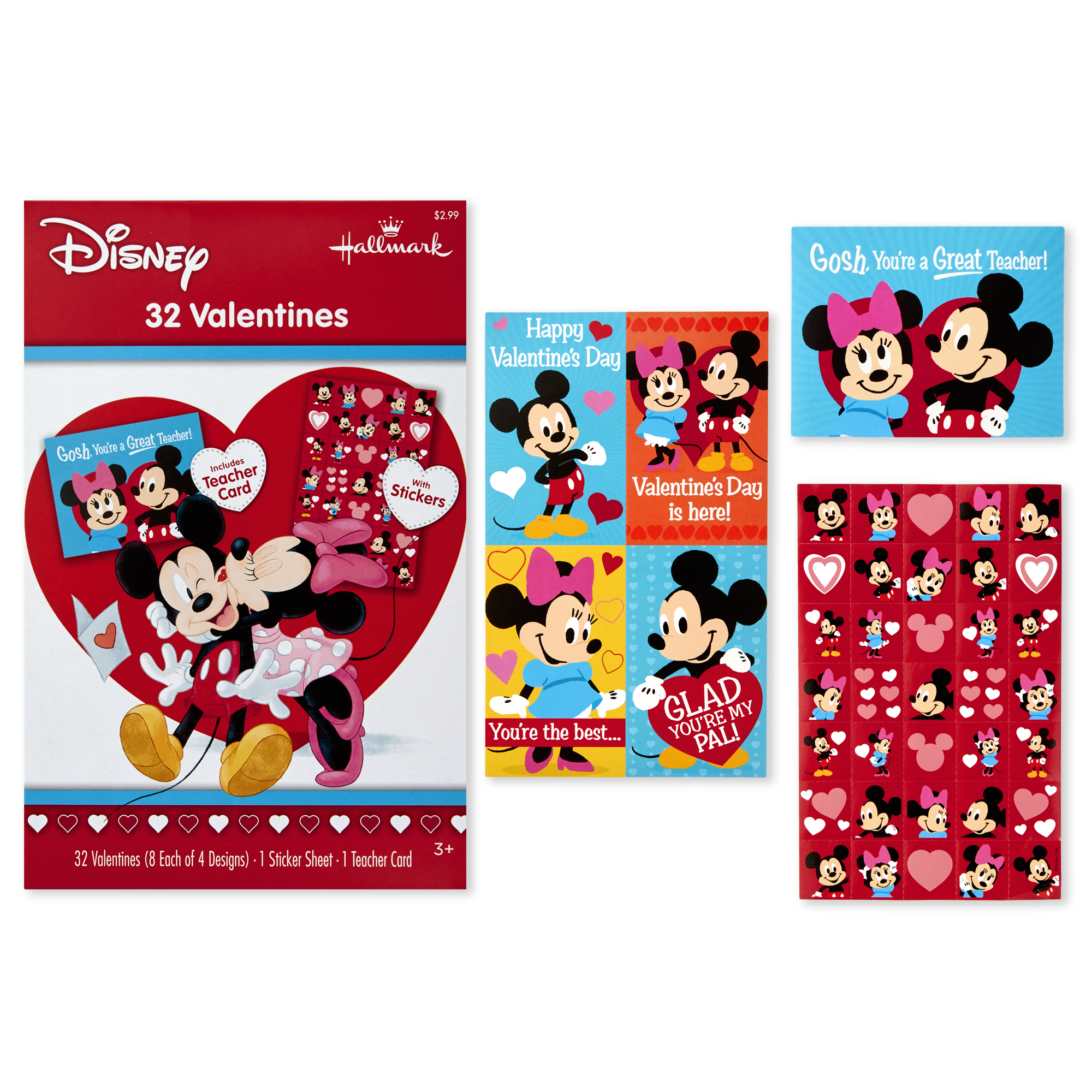Hallmark Disney Kids Valentine's Day Cards, Mickey Mouse and Minnie Mouse (32 Cards, 35 Stickers, 1 Teacher Card)