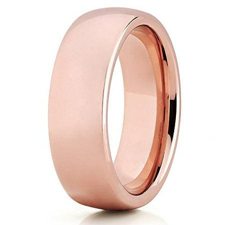 18K Rose Gold Tungsten Ring 7mm Tungsten Wedding Band Tungsten Carbide Ring Dome Tungsten Men Women Comfort Fit ()